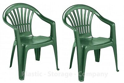 Enjoyable 2 X Green Plastic Garden Chairs Low Back Seat Patio Partying Camping Stacking Download Free Architecture Designs Embacsunscenecom