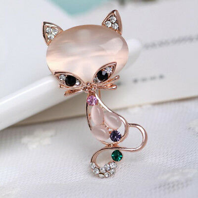 Rose Gold Plated Crystal Rhinestone Fox Shape Opal Pin Brooch Chest Buckle