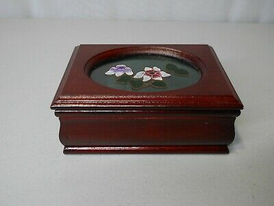 """Small Wooden Jewelry Box, Red wood and soft padding on inside 5.5"""" x 4"""" x 2.25"""""""