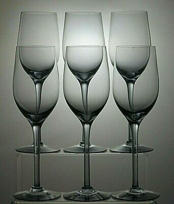 "LIGHT BLUE/GRAY CRYSTAL 7 Oz WINE GLASS SET OF 6 - 9 1/4"" TALL"
