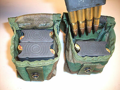 New Set of 4 MOLLE Pouch, each holds 2 Garand M1 En Bloc Ammo Mag Clips Woodland