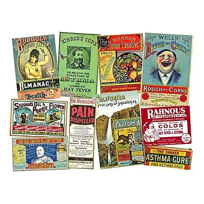 10 DRUG STORE ADVERTISING Images, Reproduction Sticker Sheet, Old Pharmacy Decor