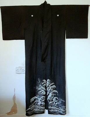 Antique Japanese Summer Light Silk Kimono Kuro Tomesode Crest Mon