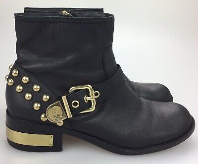 93c100d4cf1 VINCE CAMUTO BLACK Windetta Size 10 M Mid Ankle Gold Studded Boot Leather  Upper