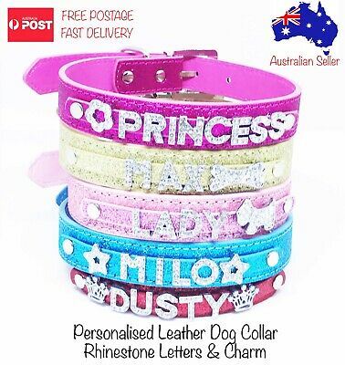Personalised Leather Glitter Collar Dog Cat Pet Rhinestone Bling Name Charms