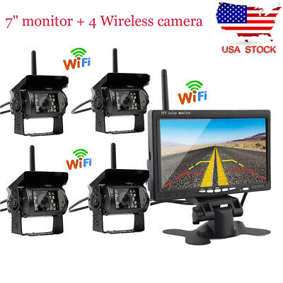 "For Truck RV 4x Wireless IR Rear View Back up Camera System + 7"" Monitor 12-24V"