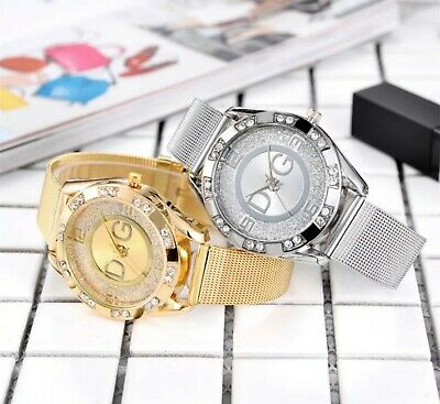 GOLD SILVER Chronograph Designer Style Ladies Watches Women Crystals Bling Watch