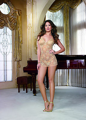 Sexy Golden Goddess Delicate Metallic Lace Soft Cup Babydoll w/Lace Trim. XL