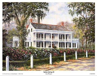 Southern Heritage III by Steve Bourgeois Plantation Signed and numbered 18 x 24
