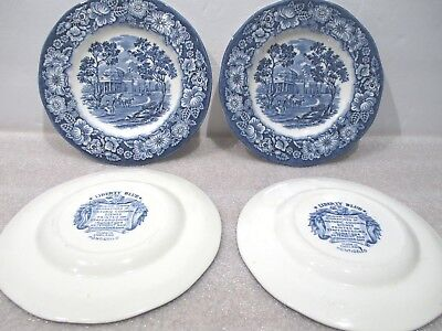 "Lot of 4 Staffordshire China LIBERTY BLUE 6"" Bread Plates – Monticello"