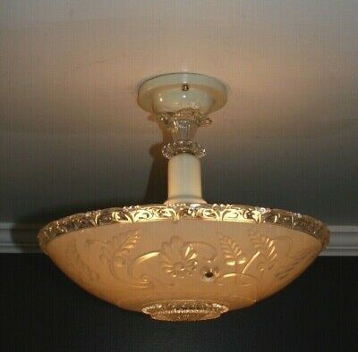Antique frosted glass porcelier art deco light fixture ceiling chandelier 40s