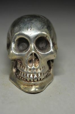 Asian Antiques China 40x27x21mm Brown Red Agate Carved Skull Ring Inner Diameter 18mm Hb99017