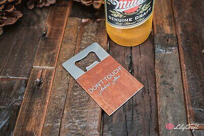 Credit Card Sized Bottle Opener. Personalised wooden beer bottle opener gifts fo
