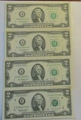 REDUCED-LUCKY Two Dollar Bill ($2) -Rare Triple Digits some 4&5 of a kind