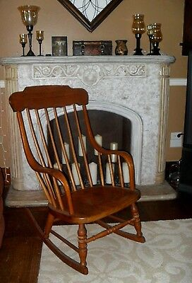 ANTIQUE? Vintage Large WOODEN ROCKING CHAIR High Back Furntiure Cleveland Oh