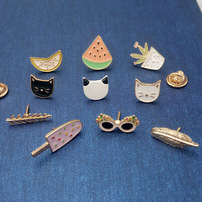 French Lapel Pins Cartoon Fruits, Glasses, Cream Enamel Badge Jewelry Brooches