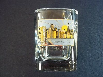 San Francisco skyline souvenir heavy square shot glass sun gold & frosted