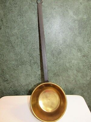 """Huge Vintage Brass Ladle w Hand Forged Cast Iron Handle 22"""""""