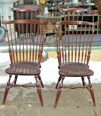 WALLACE NUTTING WINDSOR CHAIR High Comb-Back Armchair Matched Pair