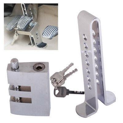 Brake Pedal Clutch Lock Security Anti-theft Device Car Stainless Steel 7 Holes
