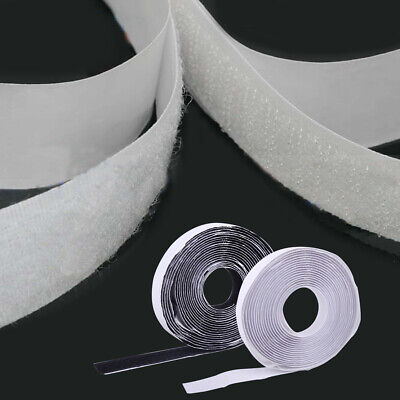 5M Sticky Back Strong Self Adhesive Hook & Loop Tape 20mm Black / White Fastener
