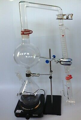 2000 ml Essential Oil Steam Distillation Kit,Graham Condense & Water Pump,Stove
