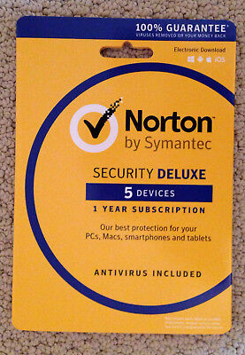 NEW Symantec Norton Security Deluxe 5 Devices–Retail Box (Product Sealed)