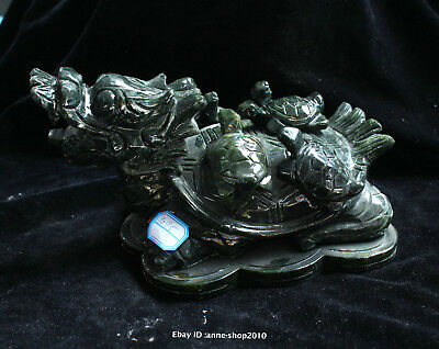 24cm China Natural DuShan Jade hand carved dragon turtle Statue Sculpture ABHD