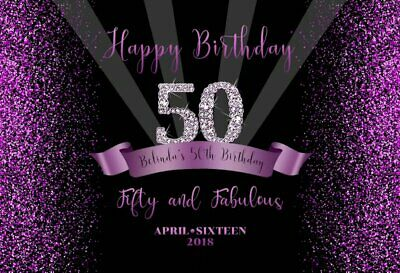 Background Black Sparkly Purple Glitter Woman Happy 50th Birthday Party Backdrop