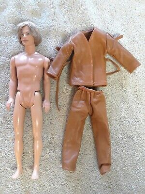 Mattel Barbie Ken Doll Blonde Rooted Hair 1968. Brown Pleather Suit with Fringe.