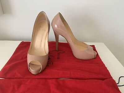 the best attitude 2df62 5db36 CHRISTIAN LOUBOUTIN VERY Prive Patent Nude Heels Size 36 AUTHENTIC - EUC
