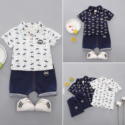 UK Toddler Kids Boys Clothes Small Crown Blouse Shorts Pants Outfits Set Summer