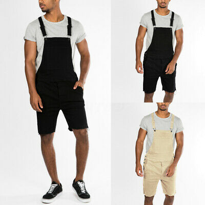 Mens Solid Loose Causal Overalls Jumpsuit 100% Cotton Rompers Playsuit Pants New