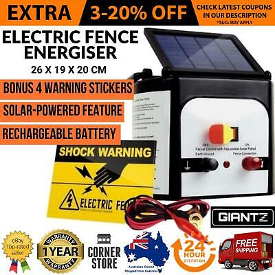 Solar Powered Electric Fence Energiser Energizer Charger 8km Farm Animal Fencing