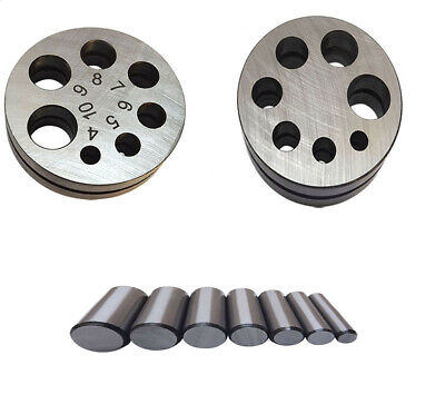 """Metal Round Disc Cutter 1/4"""" - 5/8"""" Cutting Hole Circle Punch Puncher 7 Die Size"""