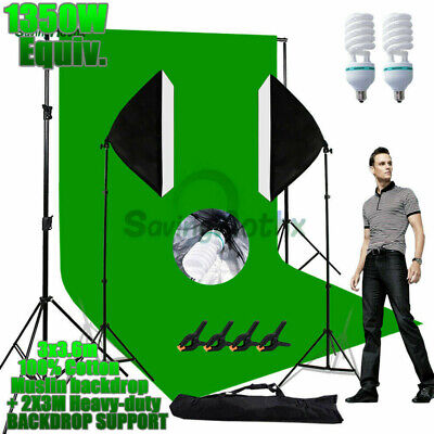 3.6M Green Screen Studio 1350W Softbox Lighting Light Backdrop Support Stand KIT