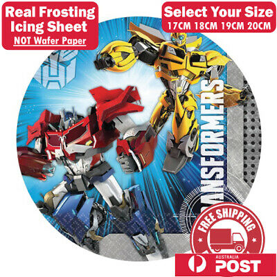 Transformers Edible Image Cake Topper Round Frosting Icing Party Decoration