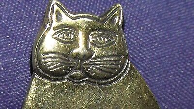 Laurel Burch gold plated ? little kitty cat pin handmade hand engraved rare ? LB