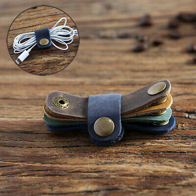 Desk Set Leather Wrap Cable Winder Earphone Clips Holders Wire Cord Organizer
