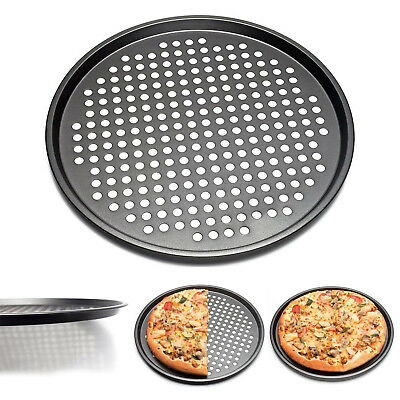 12''Steel Pizza Baking Nonstick Round Tray Mould Carbon Bakeware Cook Pan Plate
