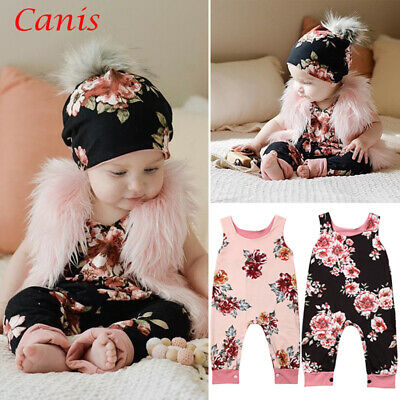 UK Newborn Baby Girls Floral Jumpsuits Romper Bodysuits Playsuit Outfits Clothes