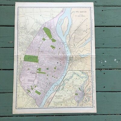 Antique Map of St. Louis from 1911 Rand-McNally Atlas 28.25 x 20.5 Good Conditio