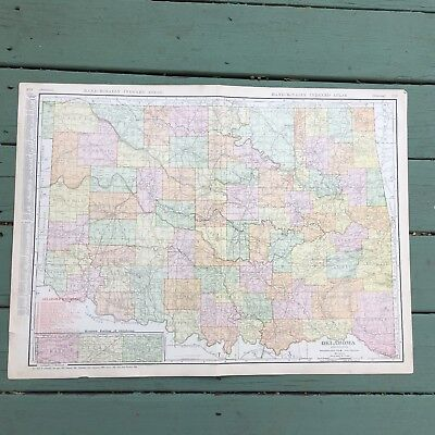 RARE Antique Map of Oklahoma from 1911 Rand-McNally Atlas WITH SWANSON COUNTY