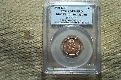 EXTREMELY RARE BU 1960-D/D sm/LG date MS-64 RED Lincoln Cent graded by PCGS**
