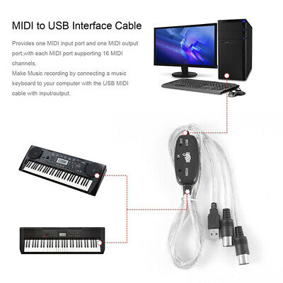 Black USB IN-OUT MIDI Interface Cable Converter PC To Music Keyboard Spare Cord