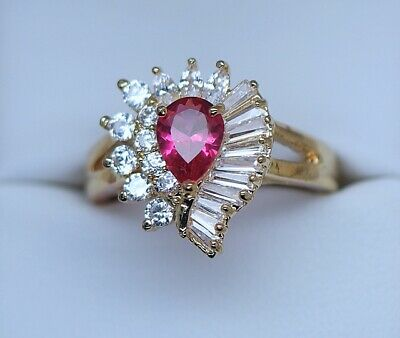 Antique Jewellery Ring Ruby and White Sapphires Vintage Dress Jewelry 9 R