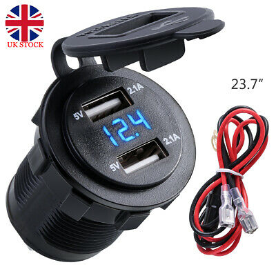 Dual USB 12-24V 4.2A Car Charger Waterproof Socket Adapter for Motorcycle Boat