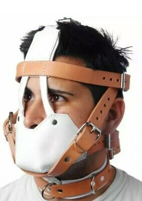 Leather Bondage Padded Face Muzzle Head Harness Brown & White