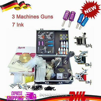Desde Alemania/DE!Tatuaje kit tattoo machine 3 guns tatuaggio kit completo