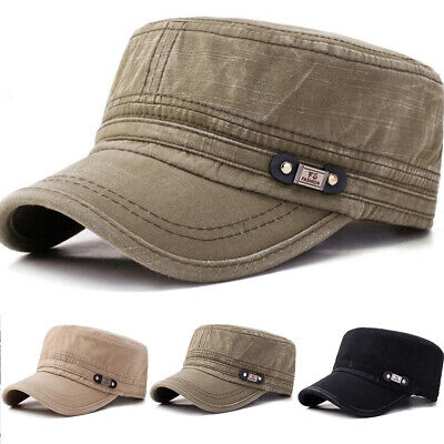 Men Solid Cotton Flat Cap Outdoor Military Army Drive Camping Sunshade Hat Gift